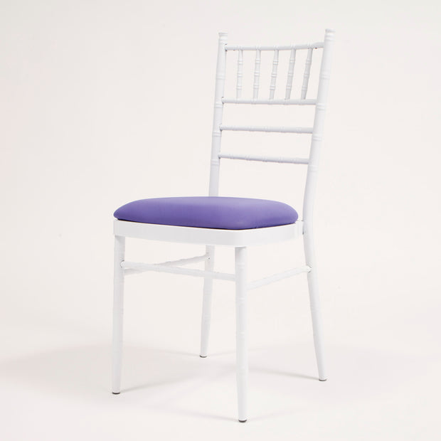 Purple Cushion Cover on White Chiavari Chair