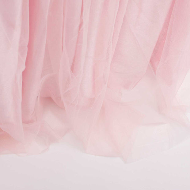Tulle and Ice Silk Layered Table Skirting - Blush (3m) Bottom