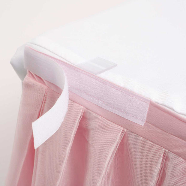 Tulle and Ice Silk Layered Table Skirting - Blush (3m) Velcro