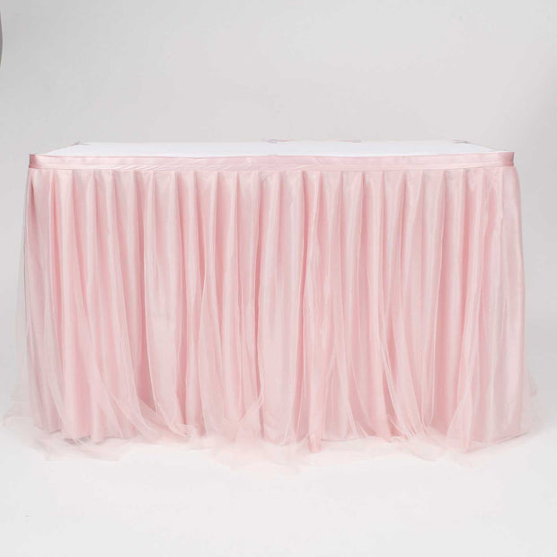 Tulle and Ice Silk Layered Table Skirting - Blush (3m)