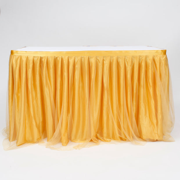 Tulle and Ice Silk Layered Table Skirting - Gold (3m)