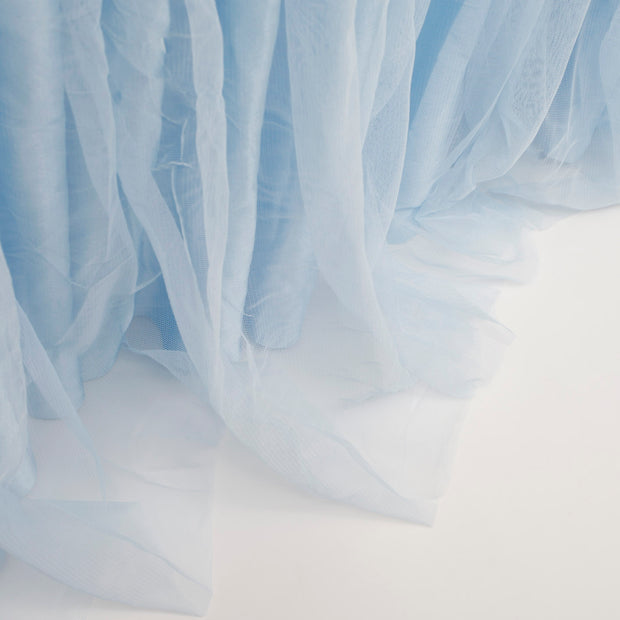 Tulle and Ice Silk Layered Table Skirting - Light Blue (3m)