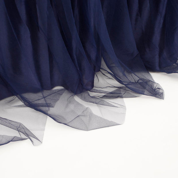 Tulle and Ice Silk Layered Table Skirting - Navy Blue (3m)
