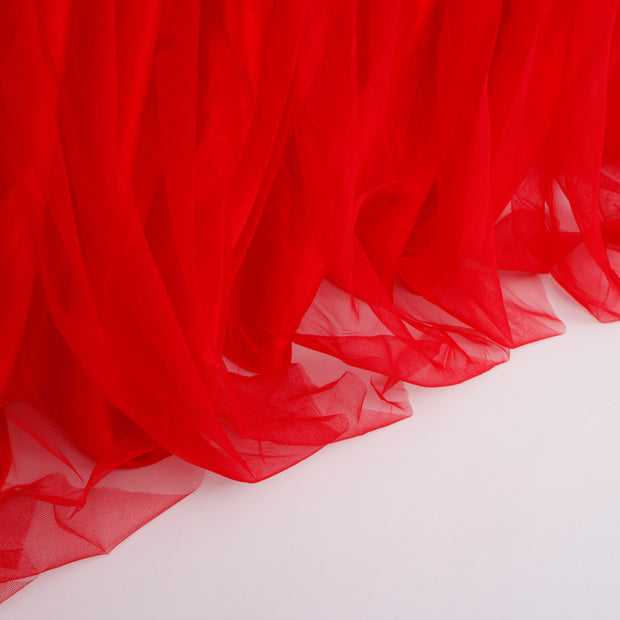 Tulle and Ice Silk Layered Table Skirting - Red (3m)