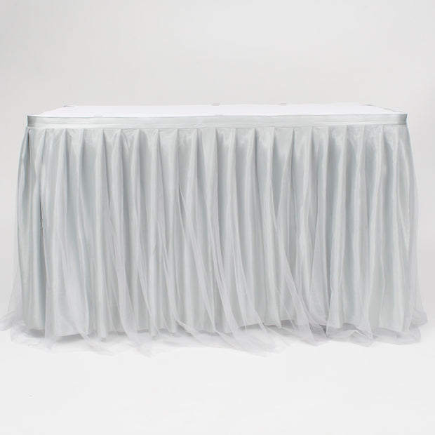 Tulle and Ice Silk Layered Table Skirting - Silver (3m)