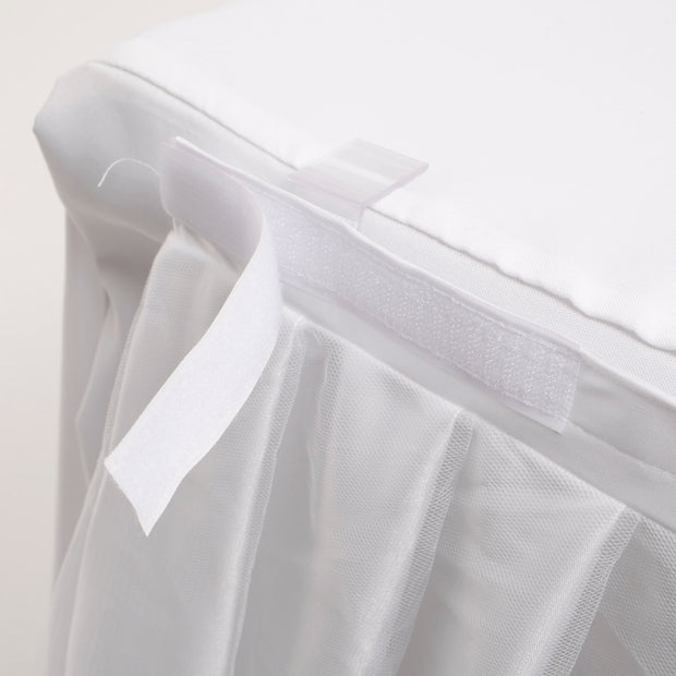 Tulle and Ice Silk Layered Table Skirting - White (3m)