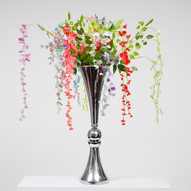 Trumpet Centrepiece Vase - Silver (70cm Tall) With flowers