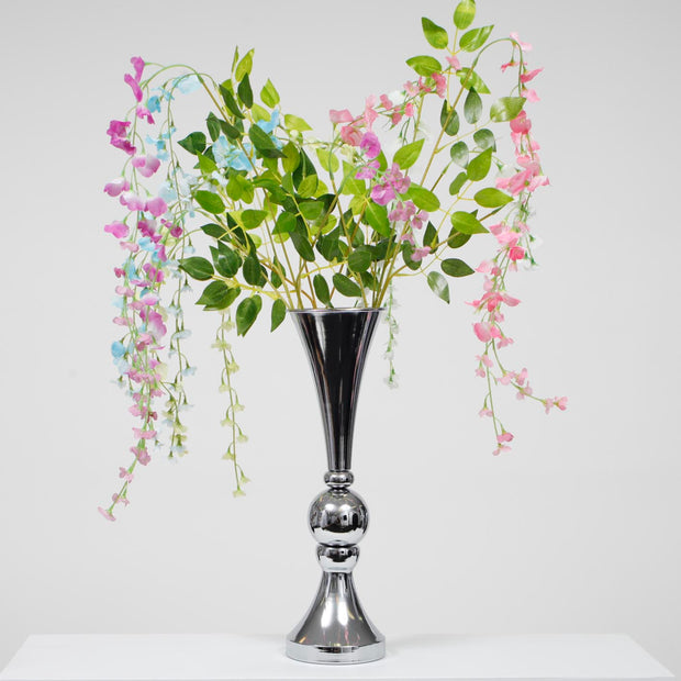 Trumpet Centrepiece Vase - Silver (46cm Tall) With Flowers