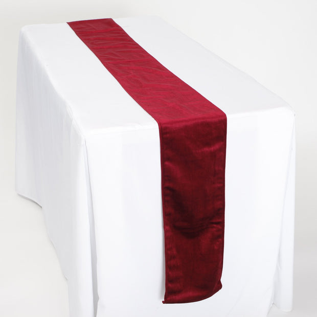 Elegant Burgundy Velvet Table Runner