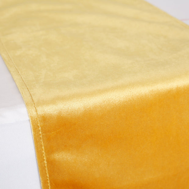 Elegant Gold Velvet Table Runner