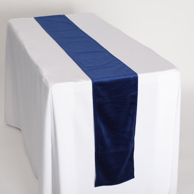 Elegant Navy Velvet Table Runner