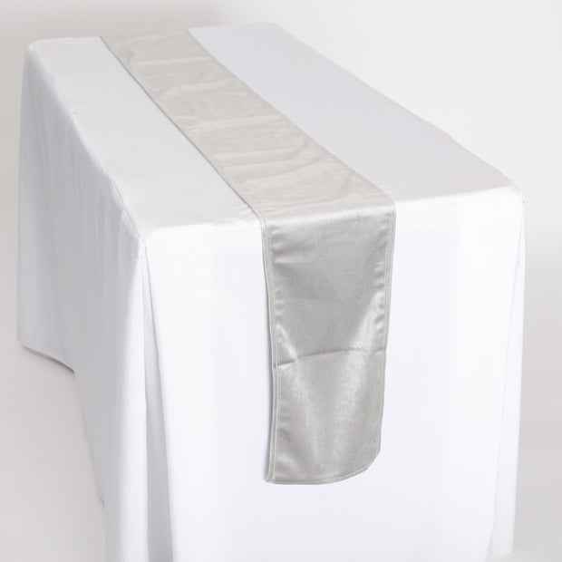 Luxurious Silver Velvet Table Runner