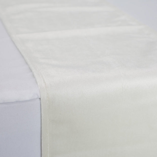 Luxurious White Velvet Table Runner Close View