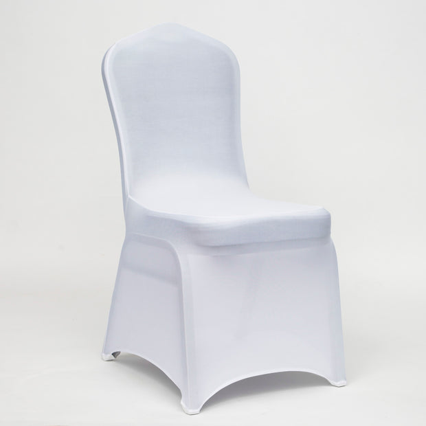 White Lycra Chair Covers (160gsm EasySlip) NO ARCH