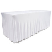 White Lycra Fitted Tablecloth with Skirting for 6ft Trestle Tables