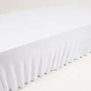 White Lycra Fitted Tablecloth with Skirting for 6ft Trestle Tables Pleats
