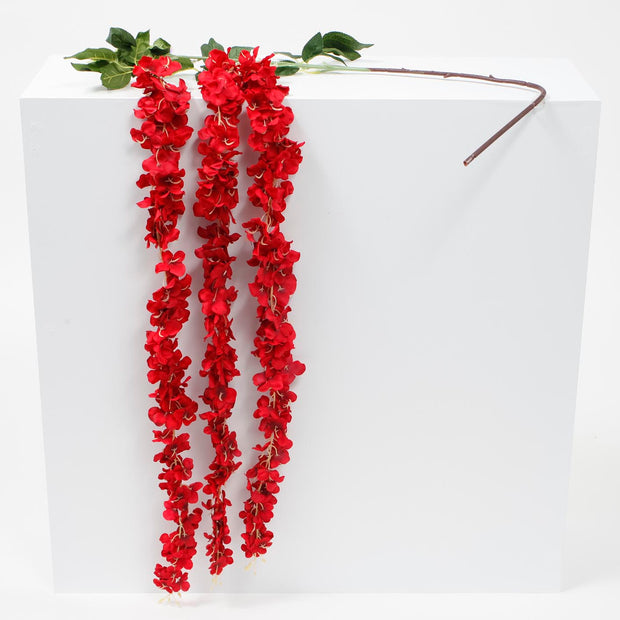 Large Premium Hanging Wisteria Garland - Red (1.6m)