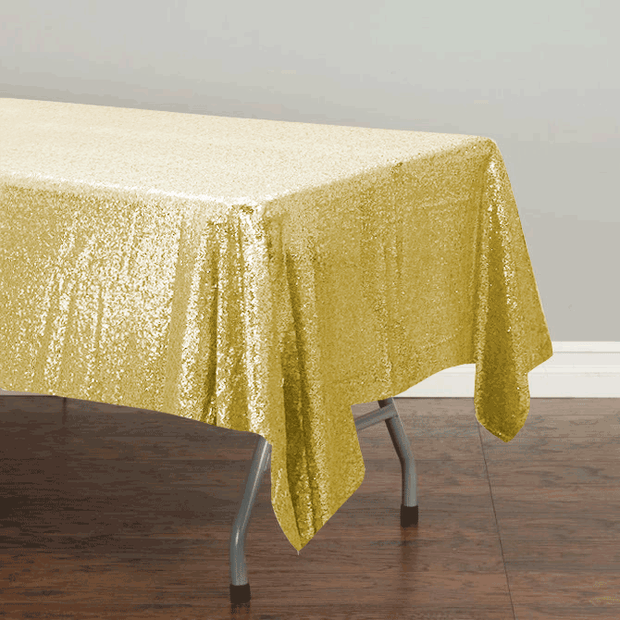 Champagne Gold Sequin Tablecloth 125x240cm