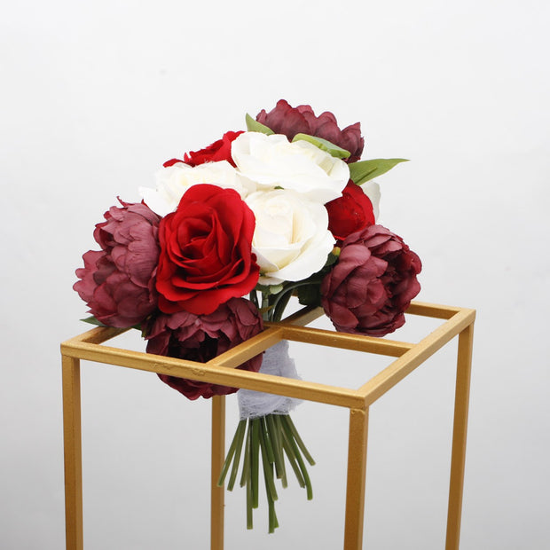 Clearance Gold Iron Flower Stand Centrepiece (with centre cross) 40cm x 21cm x 21cm