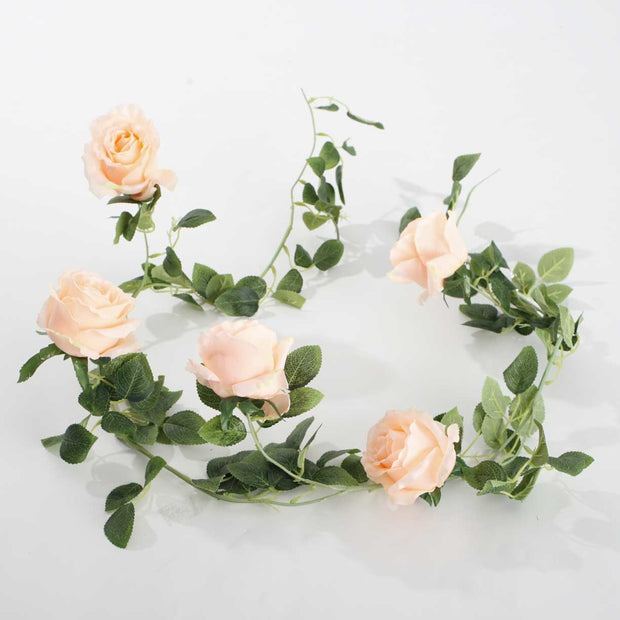 Artificial Peach Rose Vine 9cm Flower