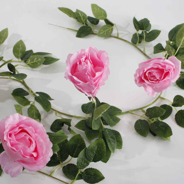 Artificial Pink Rose Vine 9cm Flower Close Of Vines And Flower