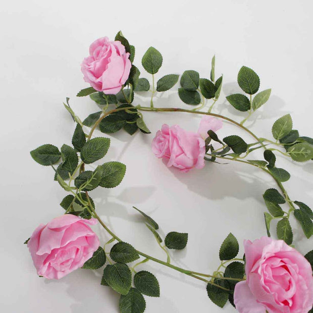 Artificial Pink Rose Vine 9cm Flower 2