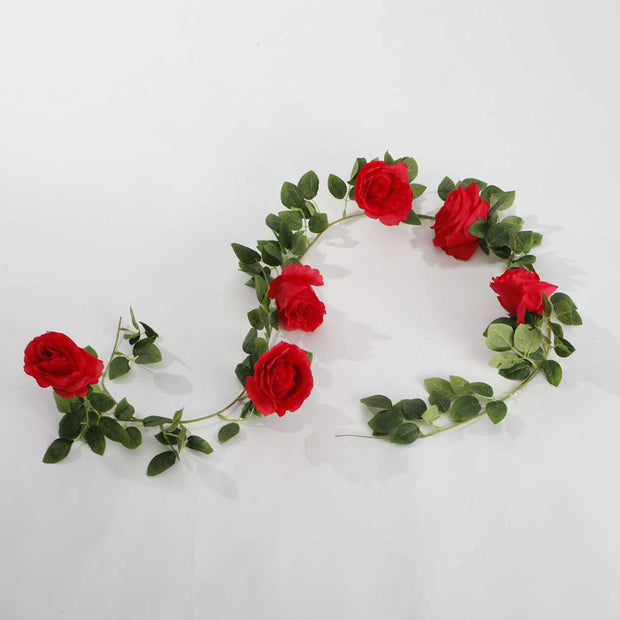 Artificial Red Rose Vine 9cm Flower
