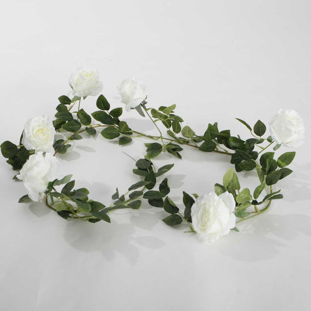 Artificial White Rose Vine 9cm Flower