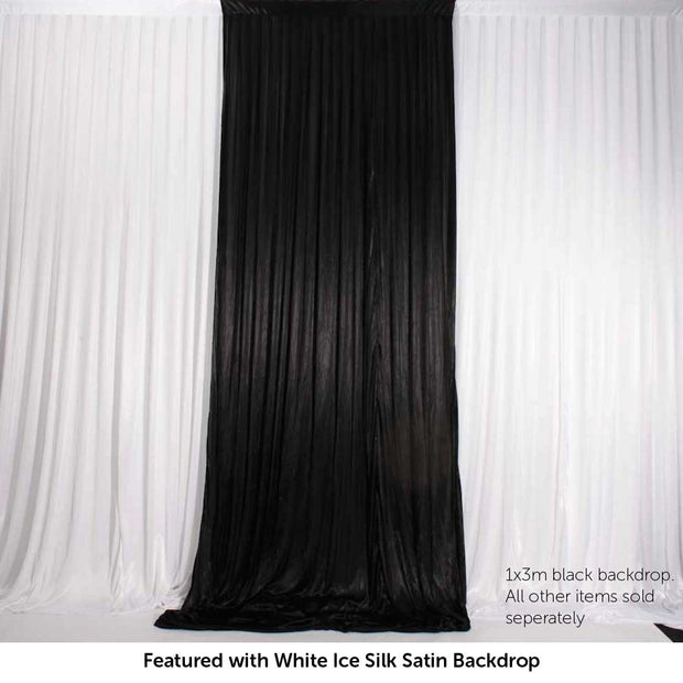 Black Ice Silk Satin Backdrop Convertible Panels 1mx3m