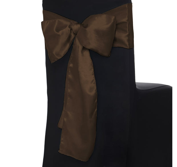 Satin Chair Sashes - Chocolate Brown