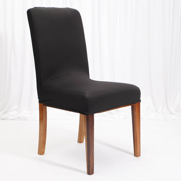 Lycra Chair Covers (Toppers) - Black On Dining Chair