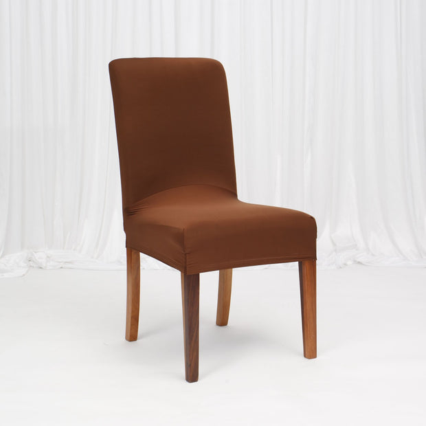 Lycra Chair Covers (Toppers) - Brown On Dining Chair