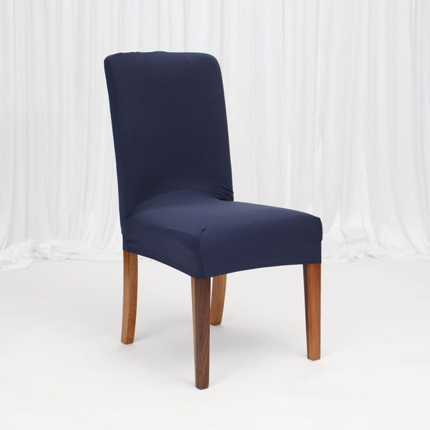 Lycra Chair Covers (Toppers) - Navy On Dining Chair