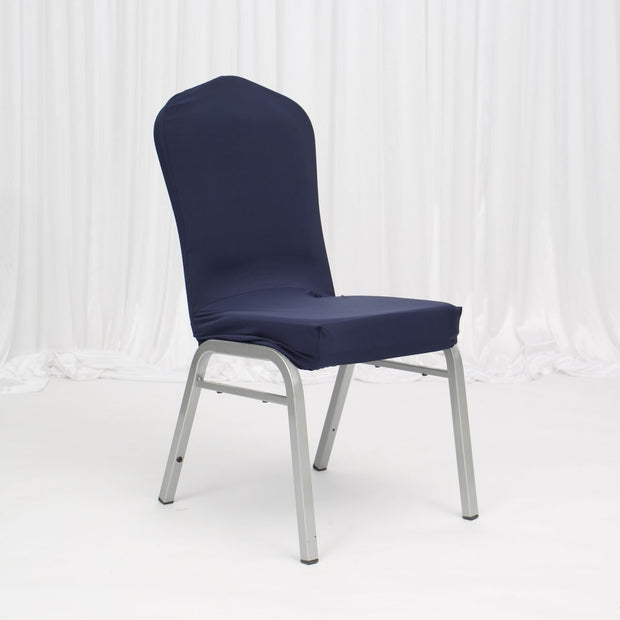 Lycra Chair Covers (Toppers) - Navy On Banquet Chair