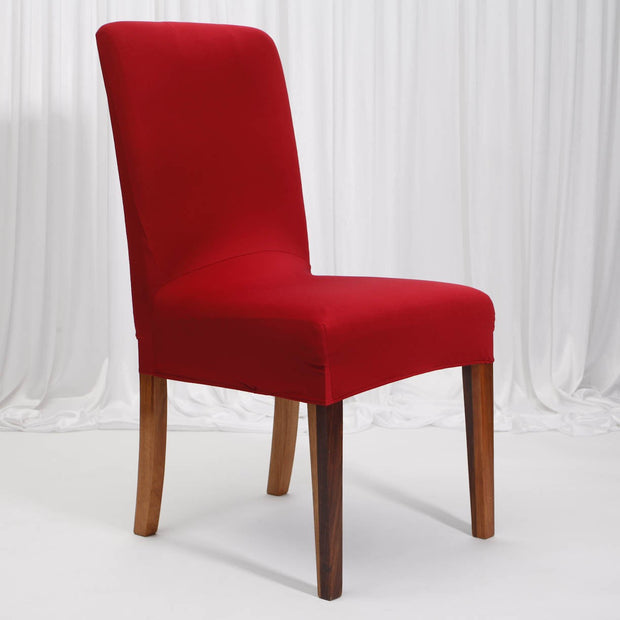 Lycra Chair Covers (Toppers) - Wine Red On Dining Chair