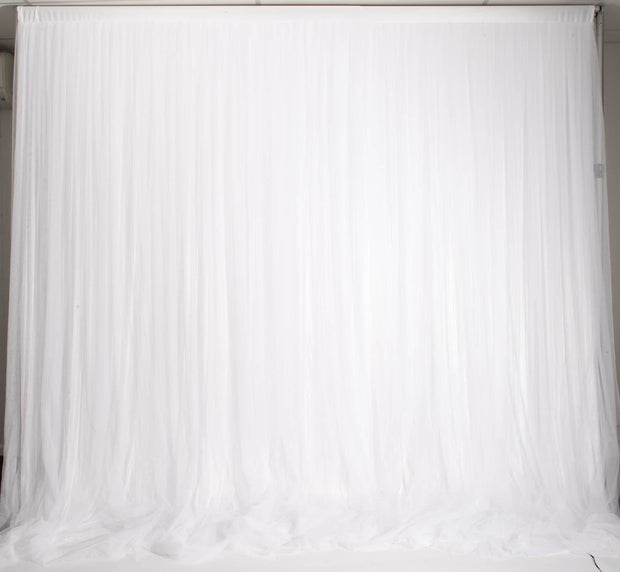 White Ruffle Tulle Backdrop Curtain with Satin Silk Backing 3mx3m Ties Removed