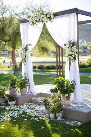 White Chiffon Backdrop Curtain 3mx3m with Centre Split and Ties In Setting
