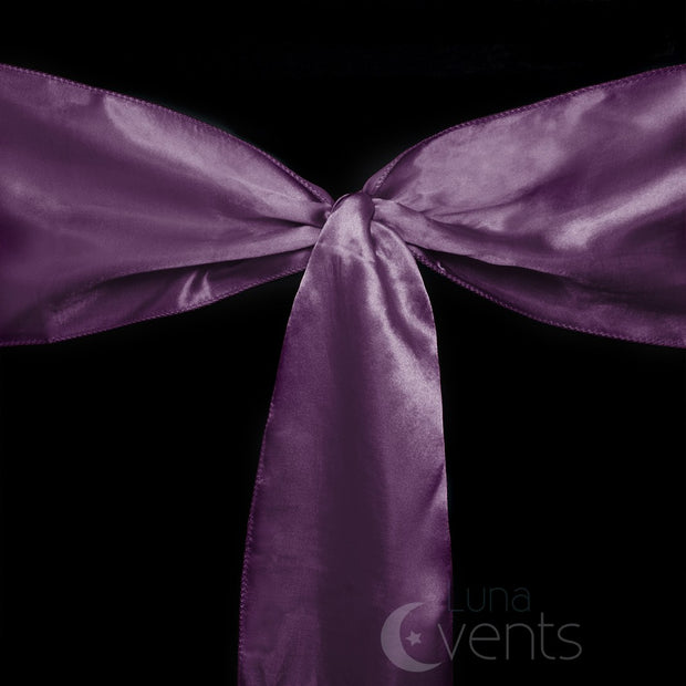 Satin Chair Sashes Detail - Plum