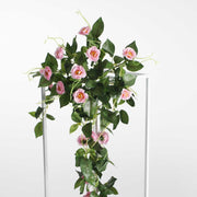 Pink Rose (3cm) Flower Waterfall Bouquet - On Flower Stand