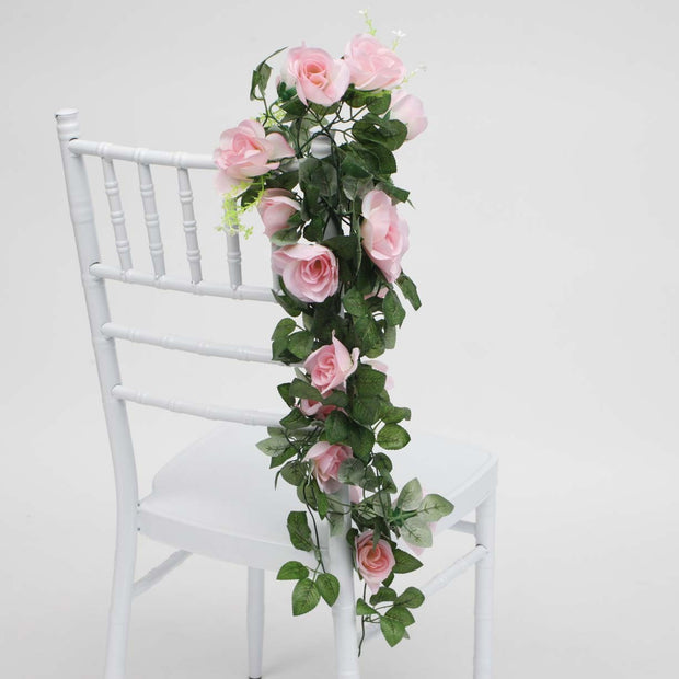 Pink Rose (6cm) Flower Waterfall Bouquet On Chair 1