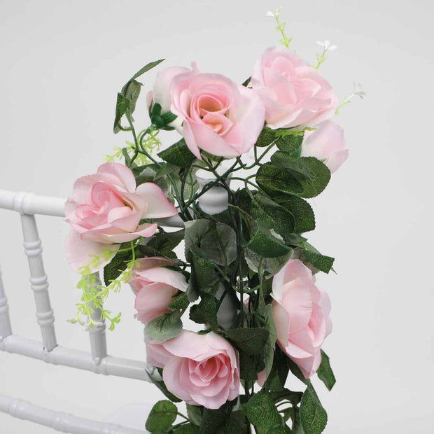 Pink Rose (6cm) Flower Waterfall Bouquet Vine Close Up 1
