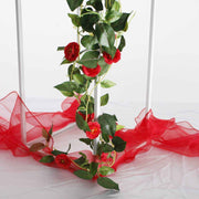 Artificial Red Rose Bouquet 3cm Flower Vine Close Up