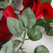 Artificial Red Rose Bouquet Leaf Close Up