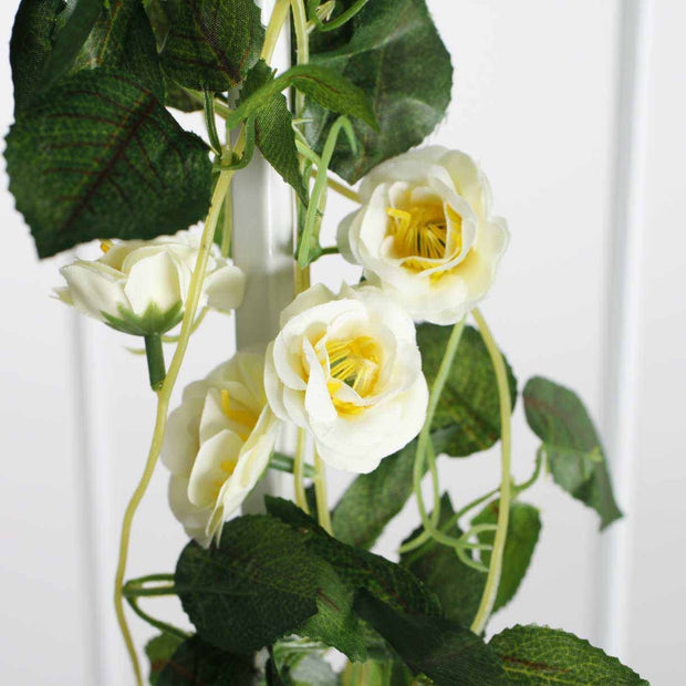 Artificial White Rose Bouquet 3cm Flower Close Up 2