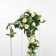 Artificial White Rose Bouquet 3cm Flower Close Up 1