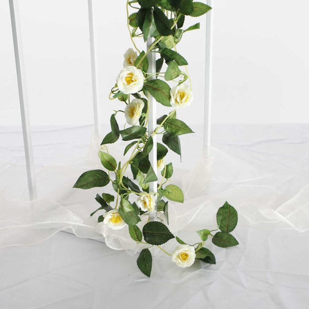 Artificial White Rose Bouquet 3cm Flower Vine Section