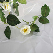 Artificial White Rose Bouquet 3cm Flower Close Up 3