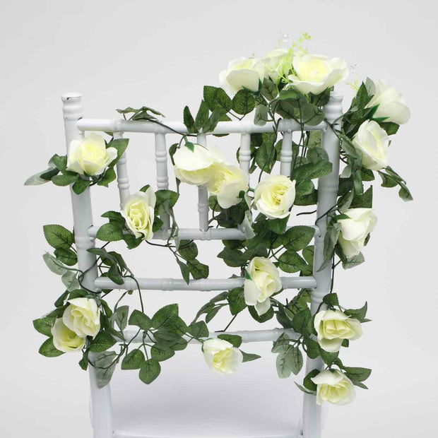White Rose (6cm) Flower Waterfall Bouquet On Tiffany Chair 1