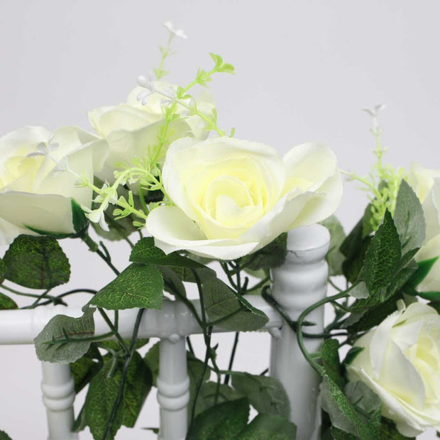 White Rose (6cm) Flower Waterfall Bouquet Flower Close Up 2