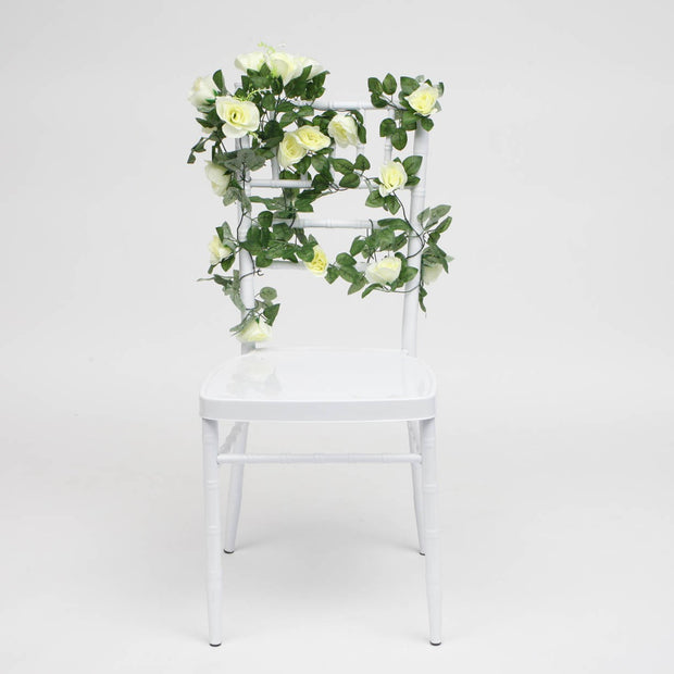 White Rose (6cm) Flower Waterfall Bouquet On Tiffany Chair 2